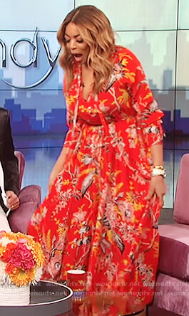 Wendy's red floral print maxi dress on The Wendy Williams Show
