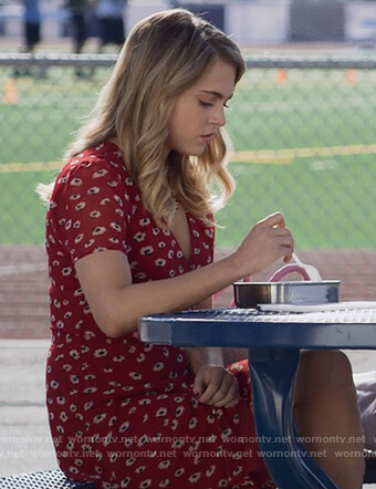 Wornontv Chloe S Red Printed Wrap Dress On 13 Reasons Why