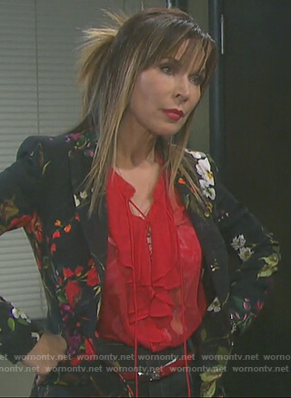 Kate's black floral print blazer and red ruffle blouse on Days of our Lives