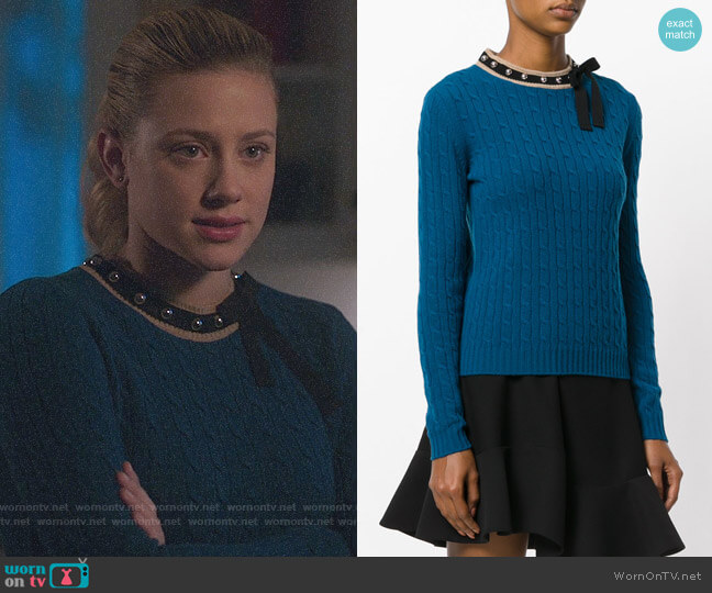 RED Valentino Studded Bow Tie Sweater worn by Betty Cooper (Lili Reinhart) on Riverdale