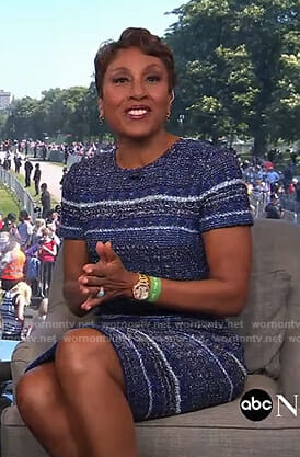 Robin's blue striped tweed dress on Good Morning America