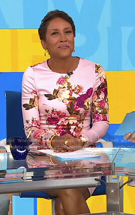 Robin's pink floral long sleeve dress on Good Morning America