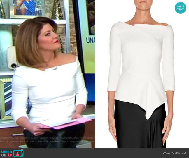 'Almeley' Top by Roland Mouret worn by Norah O'Donnell on CBS This Morning