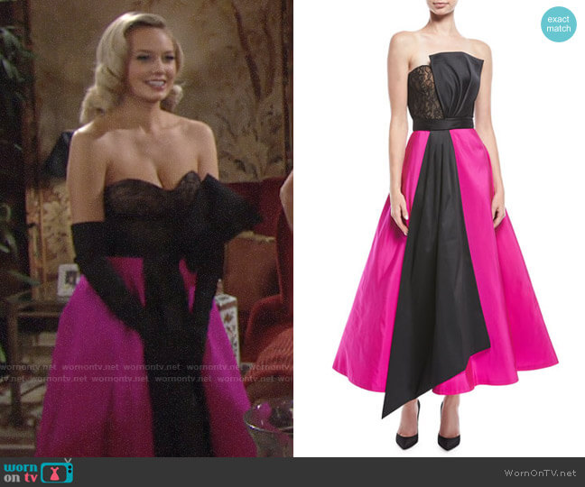 Sachin + Babi Vesta Strapless Two-Tone Midi Gown worn by Melissa Ordway on The Young & the Restless
