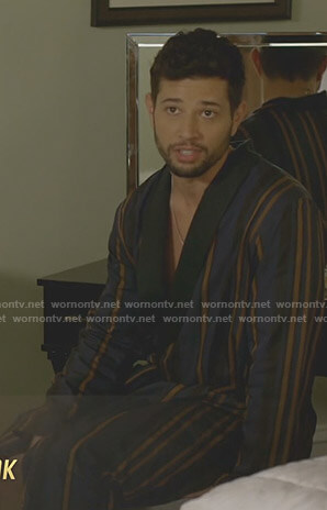 Sam's navy striped robe on Dynasty