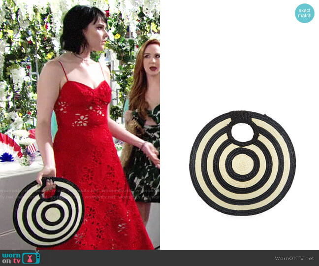 San Diego Hat Company Circular Woven Straw Clutch Bag worn by Tessa Porter (Cait Fairbanks) on The Young & the Restless