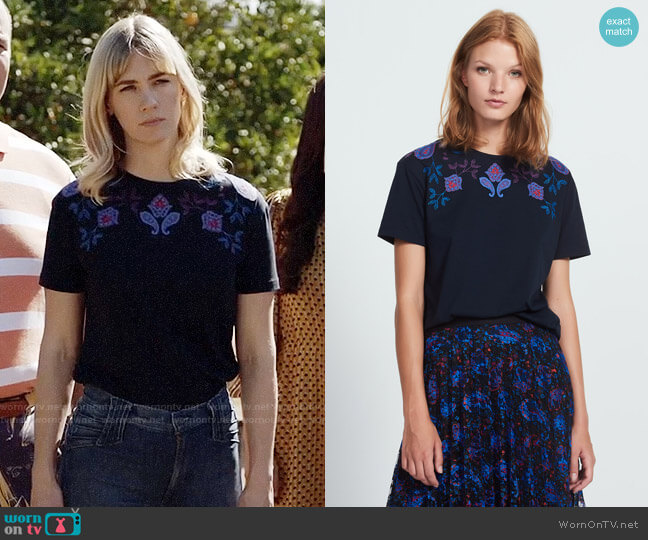 Sandro Brian Top worn by January Jones on Last Man On Earth