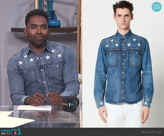 Denim Shirt with Star Embroidery by Sandro worn by Justin Sylvester  on E! News