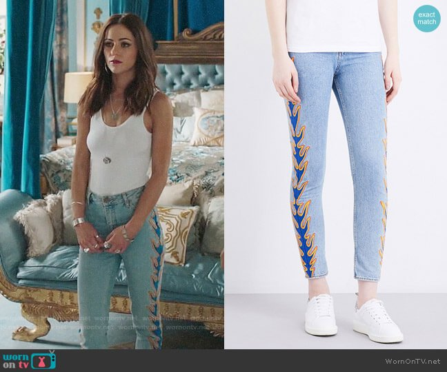 Sandro Flame Cropped Jeans worn by Princess Eleanor (Alexandra Park) on The Royals