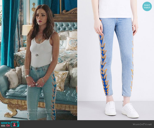 Sandro Flame Cropped Jeans worn by Alexandra Park on The Royals