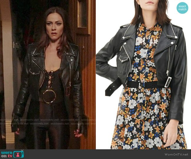 Sandro Vegas Studded Leather Jacket worn by Alexandra Park on The Royals