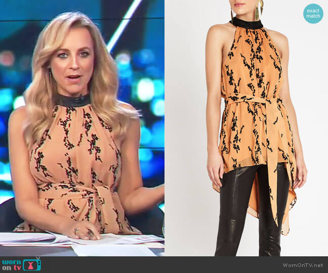 Flocks Away Top by Sass & Bide worn by Carrie Bickmore (Carrie Bickmore) on The Project