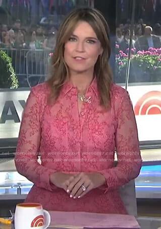Savannah's pink lace shirtdress on Today