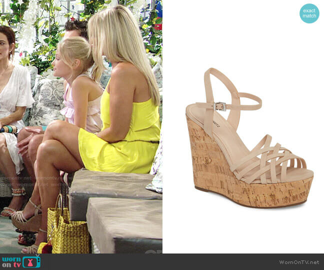 Schutz Louna Platform Wedge Sandal worn by Sharon Case on The Young & the Restless