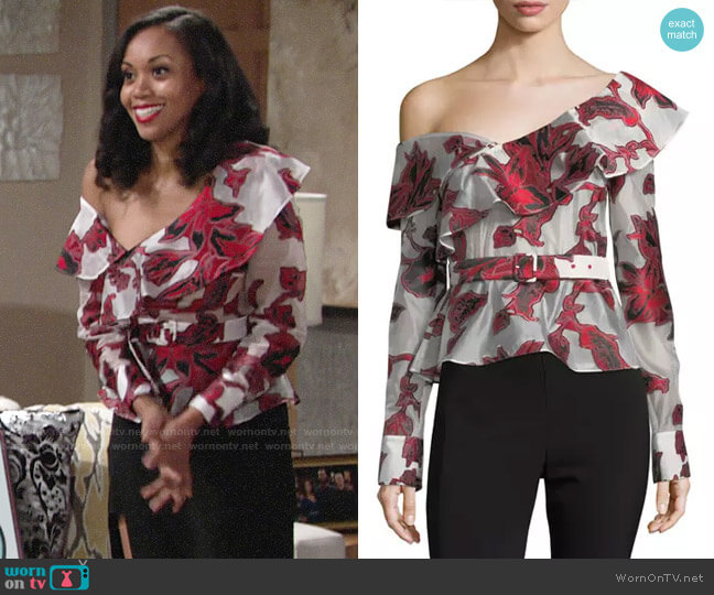 Self Portrait One-Shoulder Floral Fil Coupe Top worn by Mishael Morgan on The Young & the Restless