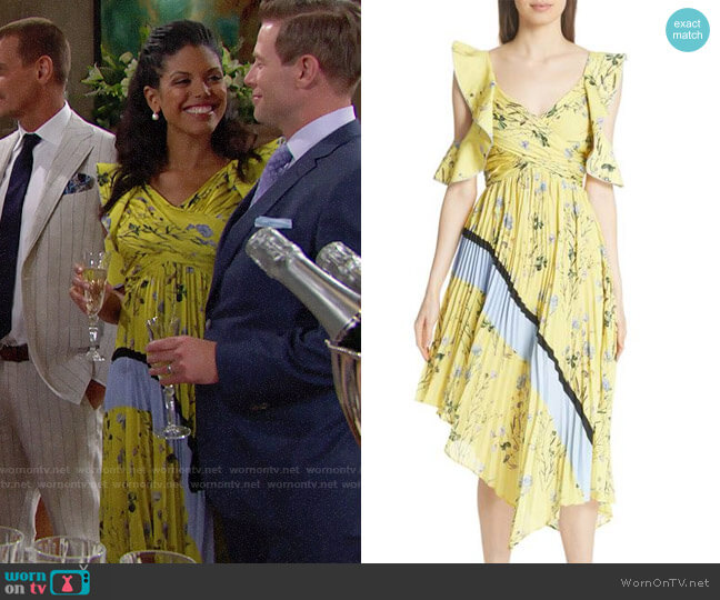 Self Portrait Floral Pleated Asymmetrical Dress worn by Karla Mosley on The Bold & the Beautiful