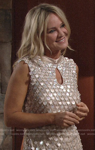 Sharon's embellished keyhole dress on The Young and the Restless
