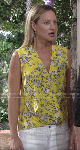 Sharon's yellow floral top on The Young and the Restless