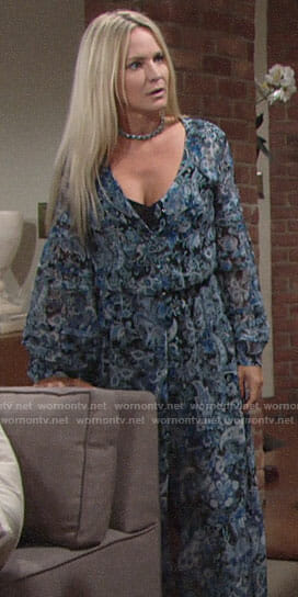 Sharon's blue paisley maxi dress on The Young and the Restless