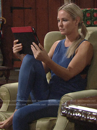 Sharon's blue yoga tank and leggings on The Young and the Restless