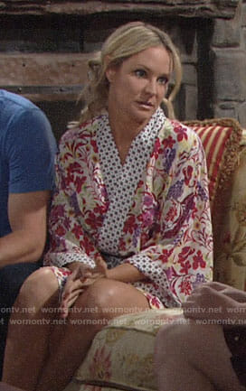Sharon's floral robe on The Young and the Restless