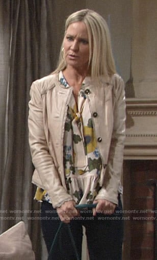 Sharon's floral sleeveless blouse on The Young and the Restless