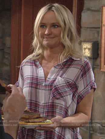Sharon's plaid short sleeved shirt on The Young and the Restless
