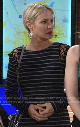 Sharon's striped dress with lace-up shoulders on The Young and the Restless