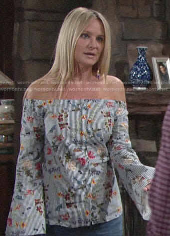 Sharon's striped floral off-shoulder top on The Young and the Restless