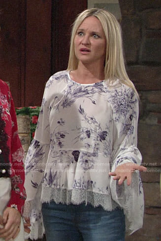 Sharon's floral lace-trim bell-sleeve top on The Young and the Restless