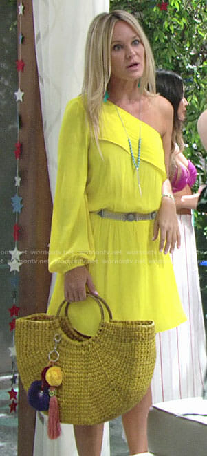 Sharon's yellow one-shoulder dress on The Young and the Restless