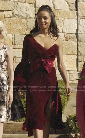 Shaun's velvet one-shoulder dress on The Arrangement