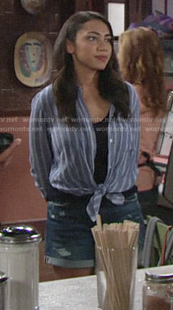 Shauna's blue striped shirt on The Young and the Restless