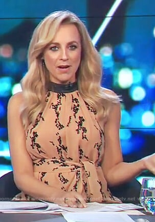 Carrie's printed halter neck top on The Project