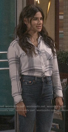 Sofia's white plaid shirt on Superior Donuts