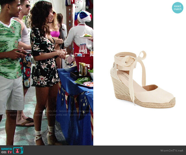 Soludos Wedge Lace Up Sandal worn by Christel Khalil on The Young & the Restless