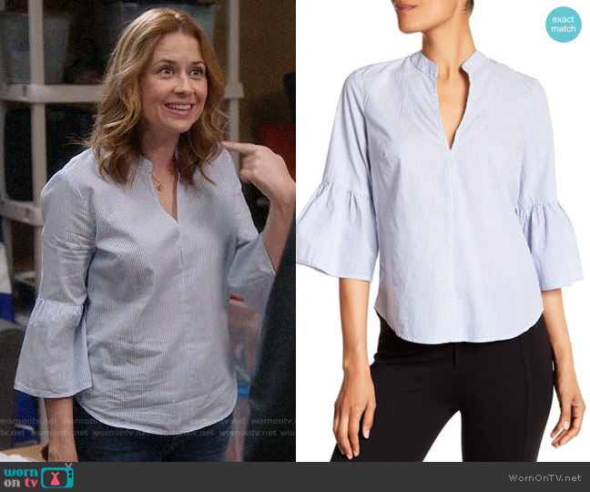 Splendid Pinstripe Bell Sleeve Blouse worn by Lena (Jenna Fischer) on Splitting Up Together