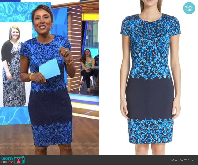 Cool Tones Brocade Knit Dress by St John Collection worn by Robin Roberts on Good Morning America
