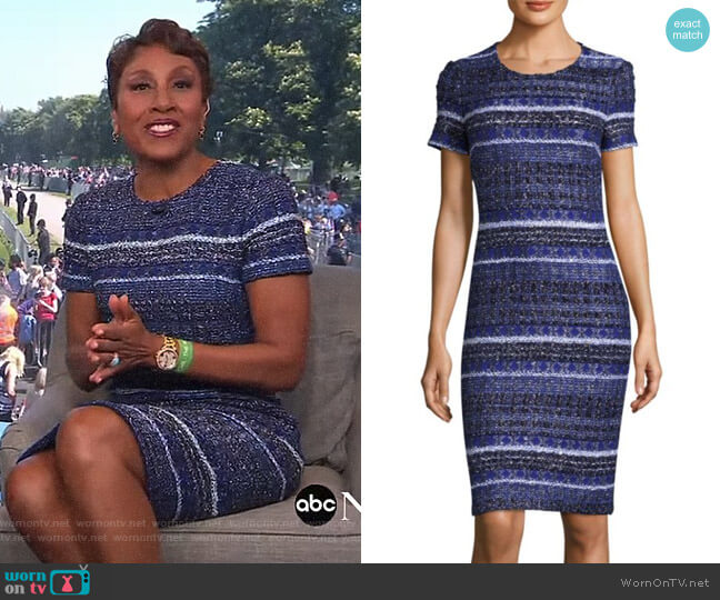 Eva Tweed Sheath Dress by St John Collection worn by Robin Roberts on Good Morning America
