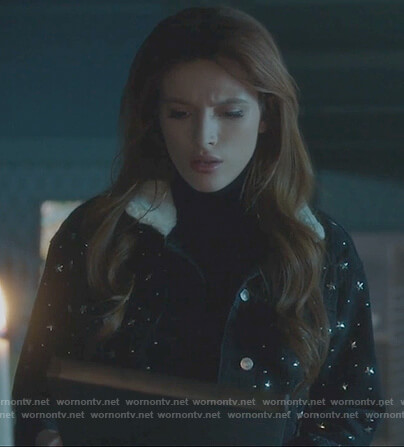 Paige's black star denim jacket on Famous in Love