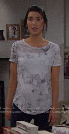 Steffy's white marbled print tee with lace-up shoulders on The Bold and the Beautiful