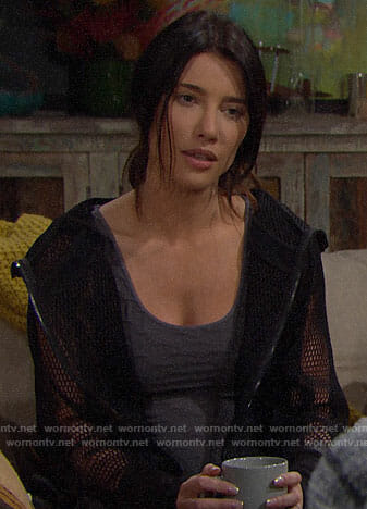 Steffy's black mesh hoodie on The Bold and the Beautiful