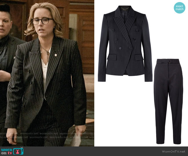 Stella McCartney Pinstriped Double Breasted Blazer and Pants worn by Téa Leoni on Madam Secretary