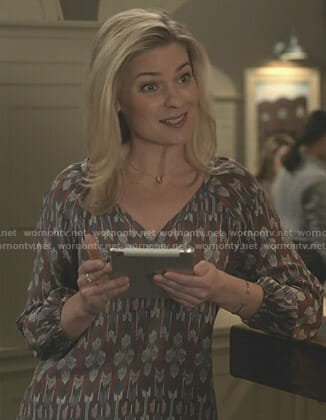 Stephanie's ikat print blouse on Good Witch