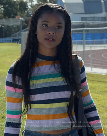 Sheri's multicolored striped sweater on 13 Reasons Why