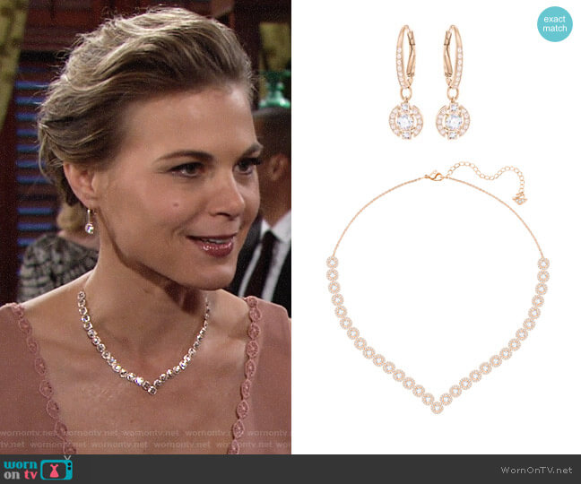Swarovski Angelic Square Necklace and Earrings in Rose Gold worn by Phyllis Newman (Gina Tognoni) on The Young & the Restless