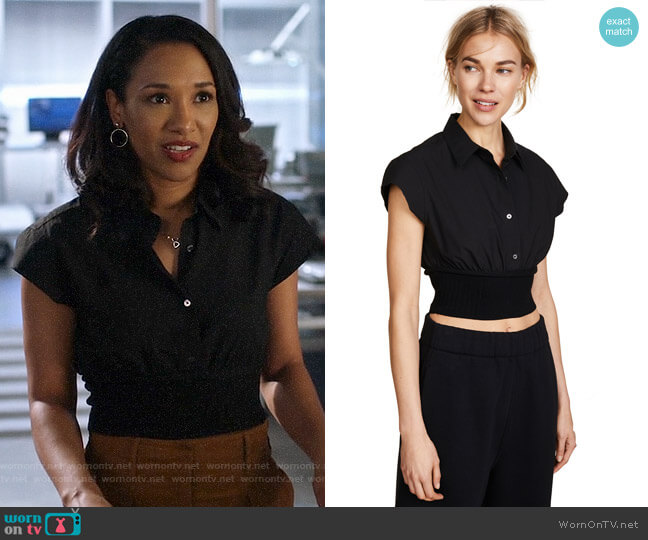 T by Alexander Wang Short Sleeve Button Down with Rib Detail worn by Iris West (Candice Patton) on The Flash