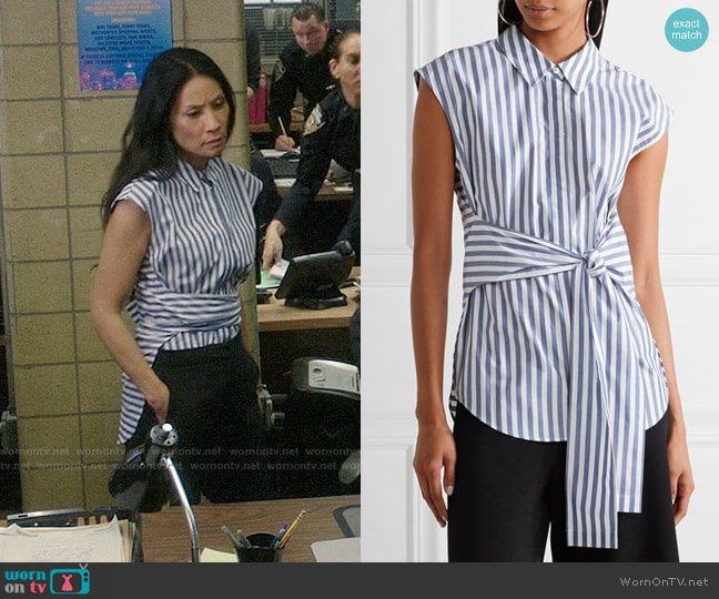 T by Alexander Wang Tie-front Striped Shirt worn by Joan Watson (Lucy Liu) on Elementary