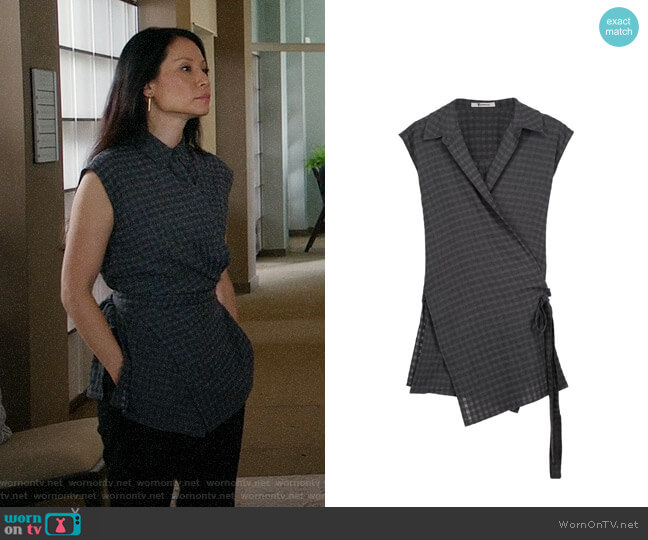 T by Alexander Wang Wrap Effect Gauze Top worn by Lucy Liu on Elementary