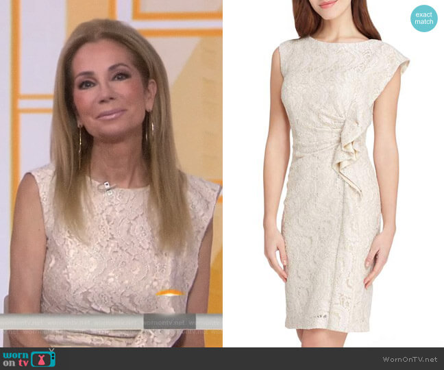 Ruffle Lace Sheath Dress by Tahari ASL worn by Kathie Lee Gifford  on Today